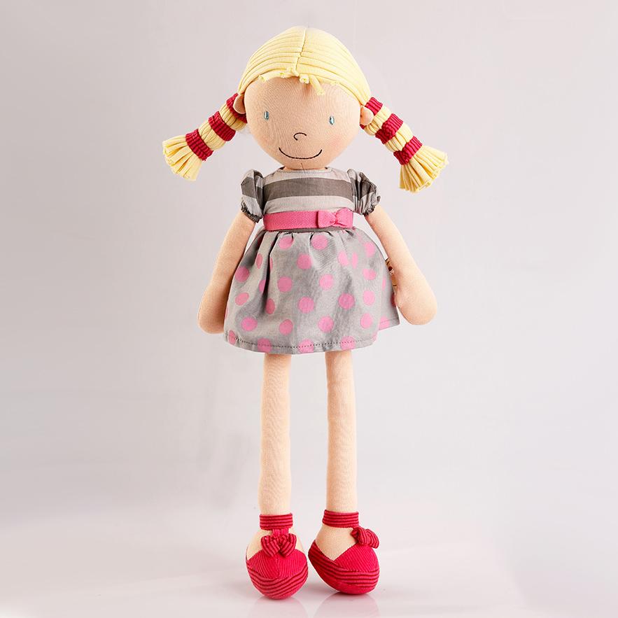 BONIKKA Látková panenka Ann velká 46cm Šaty puntík