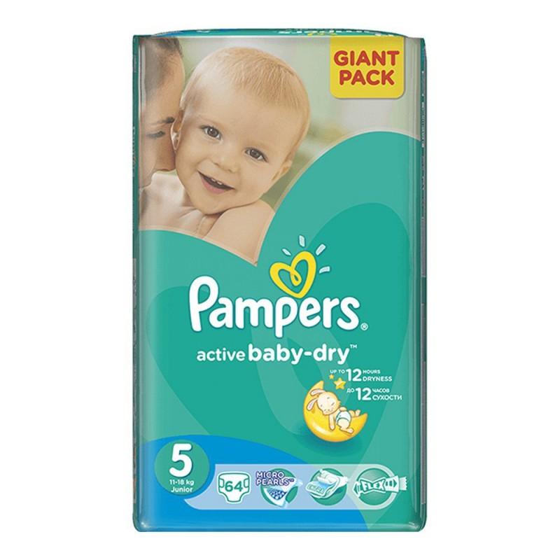 PAMPERS Plenky Active Baby-Dry 5 Junior 64ks