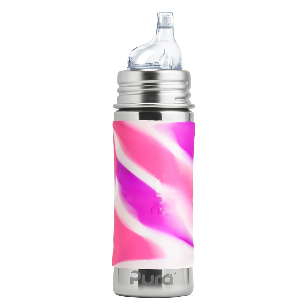 Levně PURA Nerezová láhev s pítkem 325ml Růžovo-bílá